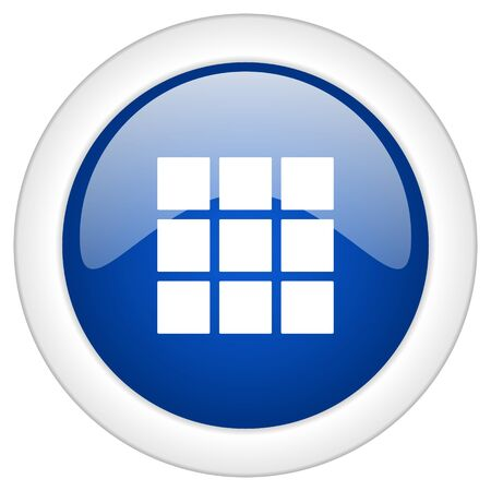 thumbnails: thumbnails grid icon, circle blue glossy internet button, web and mobile app illustration