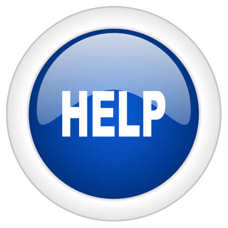 helps: help icon, circle blue glossy internet button, web and mobile app illustration