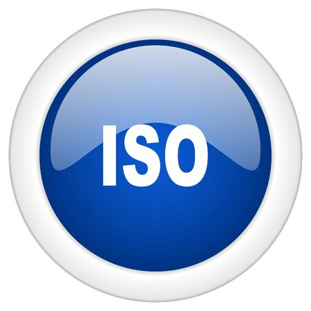 norm: iso icon, circle blue glossy internet button, web and mobile app illustration