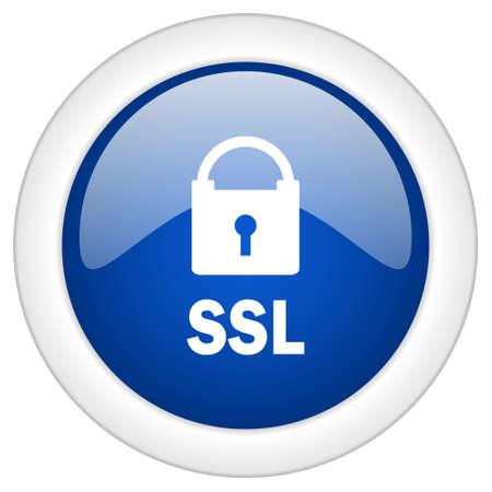 ssl: ssl icon, circle blue glossy internet button, web and mobile app illustration Stock Photo