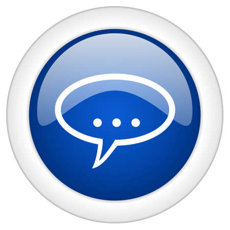 contacting: forum icon, circle blue glossy internet button, web and mobile app illustration