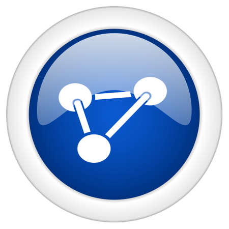 mobile internet: chemistry icon, circle blue glossy internet button, web and mobile app illustration