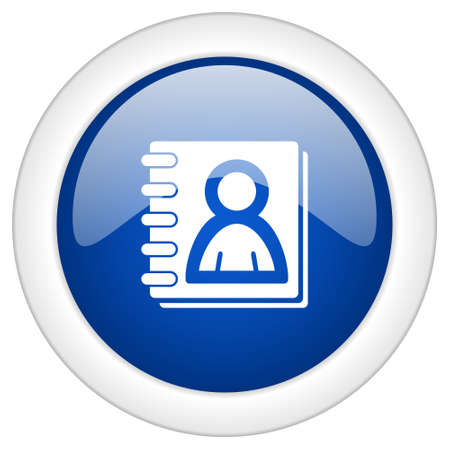 web address: address book icon, circle blue glossy internet button, web and mobile app illustration
