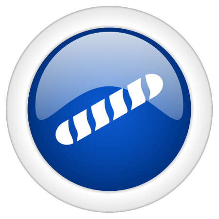 www tasty: baguette icon, circle blue glossy internet button, web and mobile app illustration