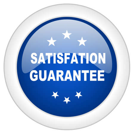 satisfaction guarantee: satisfaction guarantee icon, circle blue glossy internet button, web and mobile app illustration