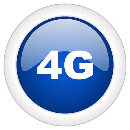4g: 4g icon, circle blue glossy internet button, web and mobile app illustration Stock Photo
