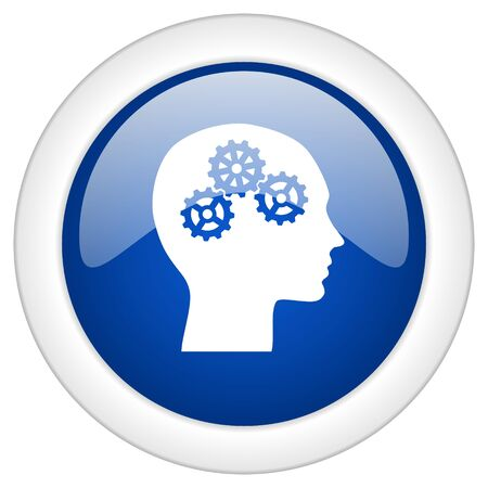 brainy: head icon, circle blue glossy internet button, web and mobile app illustration