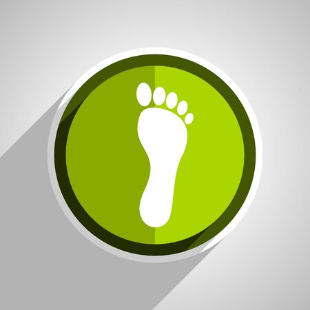 foot icon, green circle flat design internet button, web and mobile app illustration