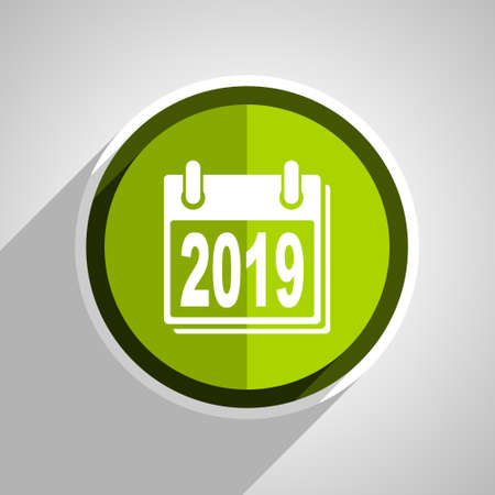 scheduler: new year 2019 icon, green circle flat design internet button, web and mobile app illustration