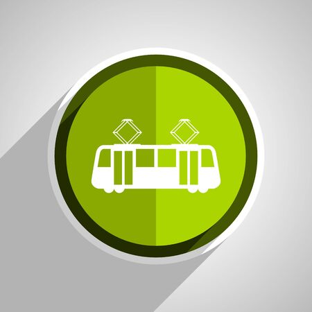 streetcar: tram icon, green circle flat design internet button, web and mobile app illustration