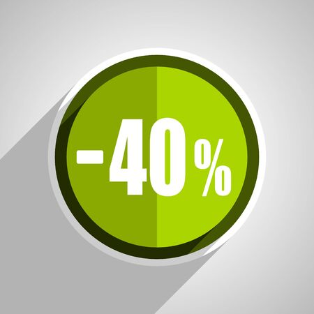 commission: 40 percent sale retail icon, green circle flat design internet button, web and mobile app illustration