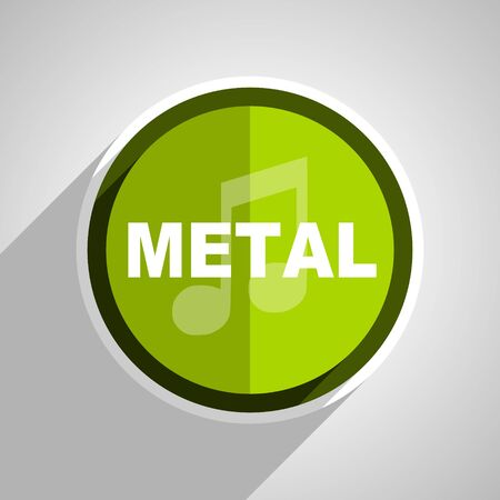 live stream radio: metal music icon, green circle flat design internet button, web and mobile app illustration