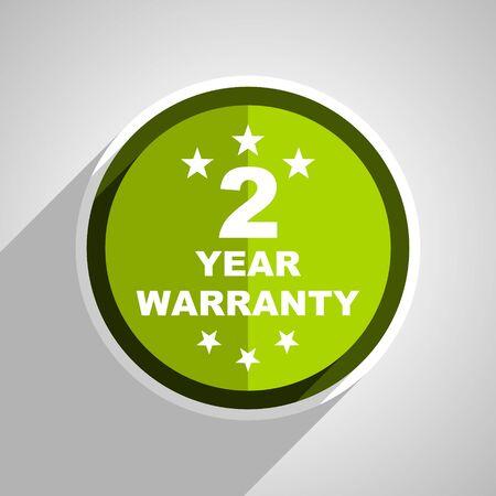 web 2: warranty guarantee 2 year icon, green circle flat design internet button, web and mobile app illustration Stock Photo