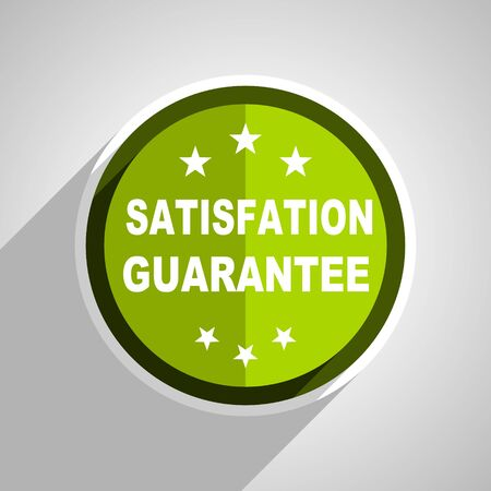 satisfaction guarantee: satisfaction guarantee icon, green circle flat design internet button, web and mobile app illustration Stock Photo