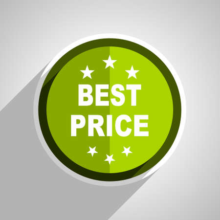 best price icon: best price icon, green circle flat design internet button, web and mobile app illustration Stock Photo