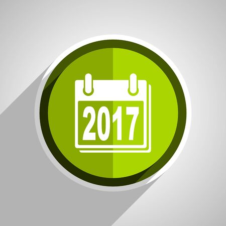 scheduler: new year 2017 icon, green circle flat design internet button, web and mobile app illustration