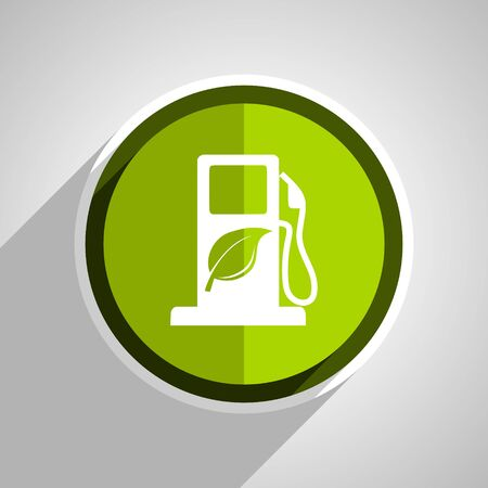 biofuel: biofuel icon, green circle flat design internet button, web and mobile app illustration Stock Photo