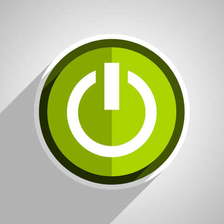 green power: power icon, green circle flat design internet button, web and mobile app illustration