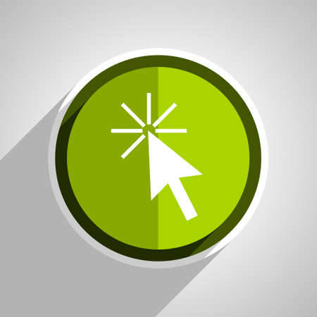 click here: click here icon, green circle flat design internet button, web and mobile app illustration