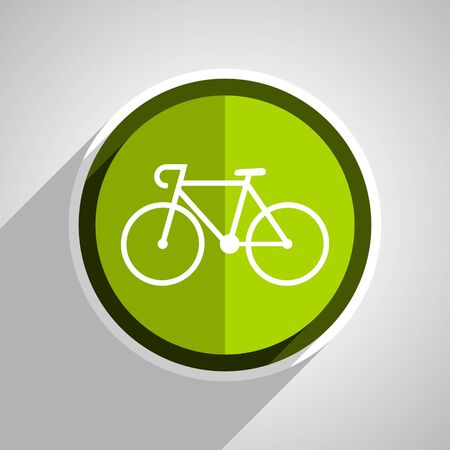 active content: bicycle icon, green circle flat design internet button, web and mobile app illustration Stock Photo