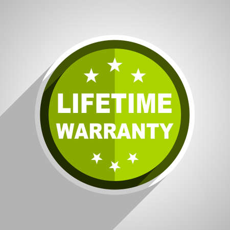 lifetime: lifetime warranty icon, green circle flat design internet button, web and mobile app illustration