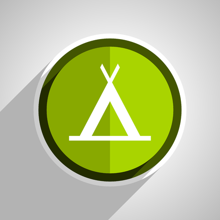 active content: camp icon, green circle flat design internet button, web and mobile app illustration