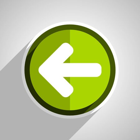 move backward: left arrow icon, green circle flat design internet button, web and mobile app illustration