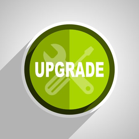 upgrading: upgrade icon, green circle flat design internet button, web and mobile app illustration
