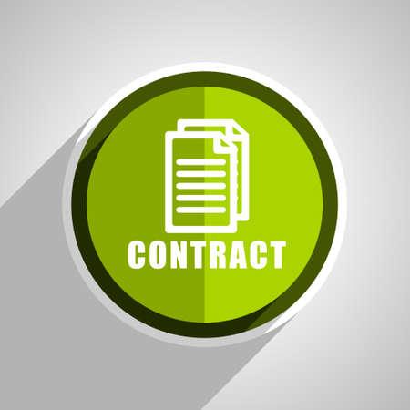pacto: icono de contrato, círculo verde botón de internet diseño plano, web e ilustración de aplicaciones móviles