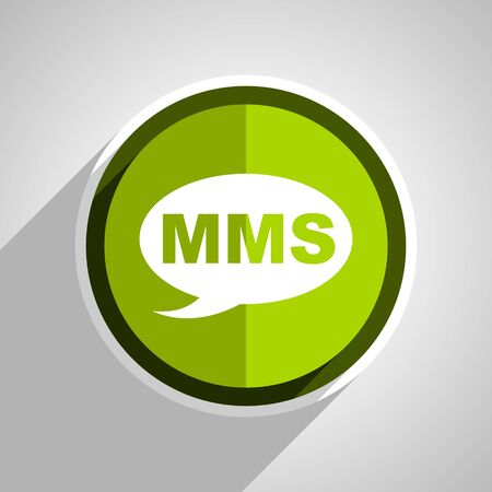mms icon: mms icon, green circle flat design internet button, web and mobile app illustration