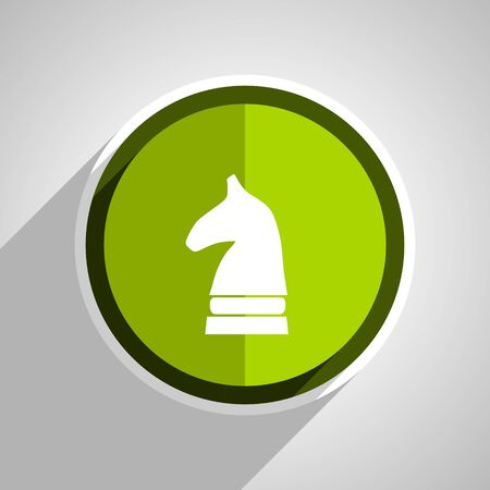 chess horse: chess horse icon, green circle flat design internet button, web and mobile app illustration