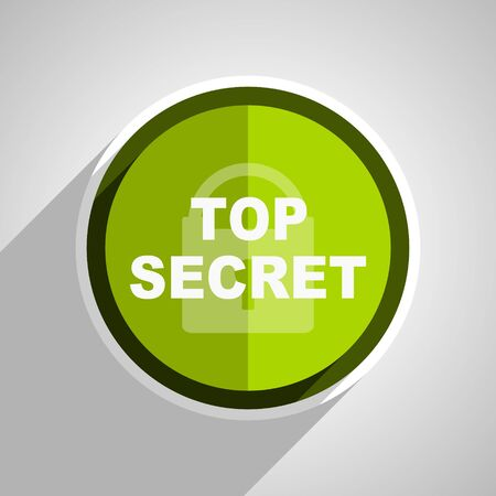 secrecy: top seret icon, green circle flat design internet button, web and mobile app illustration