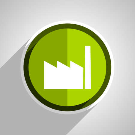 industrial complex: factory icon, green circle flat design internet button, web and mobile app illustration