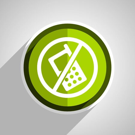 no cell phone sign: no phone icon, green circle flat design internet button, web and mobile app illustration