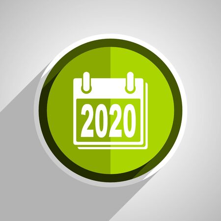 scheduler: new year 2020 icon, green circle flat design internet button, web and mobile app illustration
