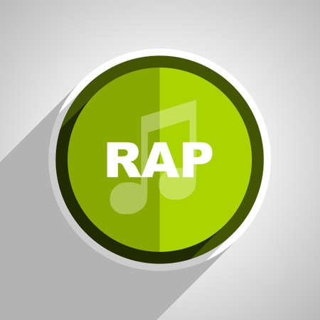 rap music: rap music icon, green circle flat design internet button, web and mobile app illustration Stock Photo