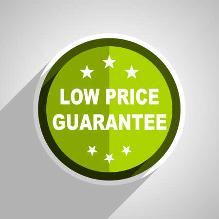 low price: low price guarantee icon, green circle flat design internet button, web and mobile app illustration