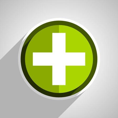 green plus: plus icon, green circle flat design internet button, web and mobile app illustration Stock Photo