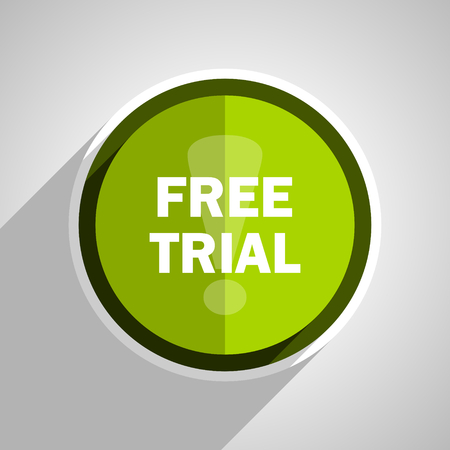 free trial: free trial icon, green circle flat design internet button, web and mobile app illustration Stock Photo