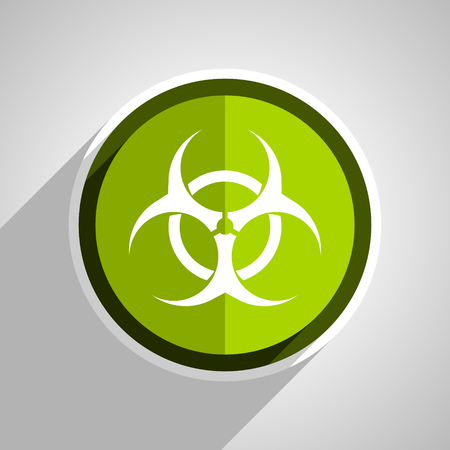 bacterioa: biohazard icon, green circle flat design internet button, web and mobile app illustration