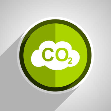 carbon dioxide: carbon dioxide icon, green circle flat design internet button, web and mobile app illustration