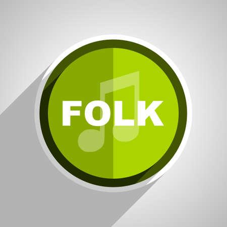 folk music: folk music icon, green circle flat design internet button, web and mobile app illustration