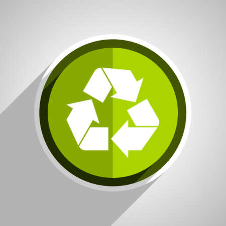 recycle icon: recycle icon, green circle flat design internet button, web and mobile app illustration