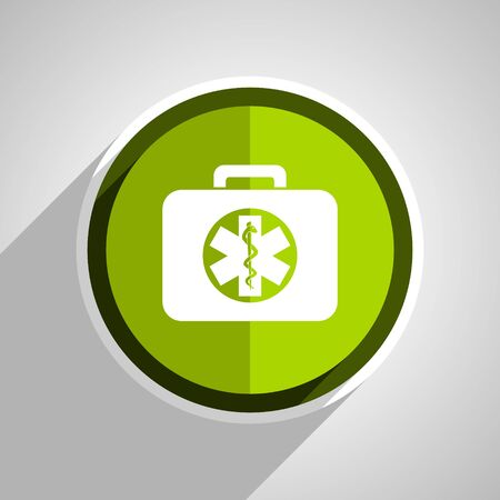 rescue circle: rescue kit icon, green circle flat design internet button, web and mobile app illustration