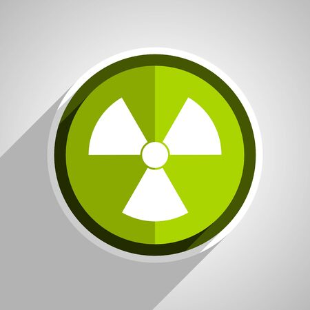 radiation icon, green circle flat design internet button, web and mobile app illustration