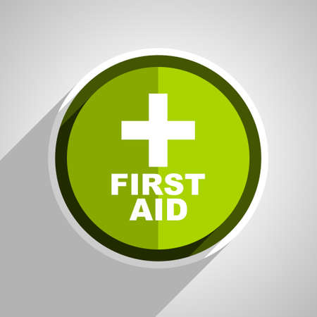 medics: first aid icon, green circle flat design internet button, web and mobile app illustration Stock Photo