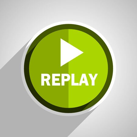 proceed: replay icon, green circle flat design internet button, web and mobile app illustration