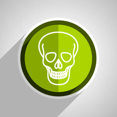 pirating: skull icon, green circle flat design internet button, web and mobile app illustration