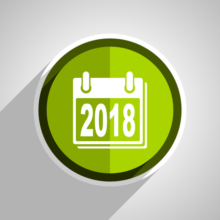 scheduler: new year 2018 icon, green circle flat design internet button, web and mobile app illustration