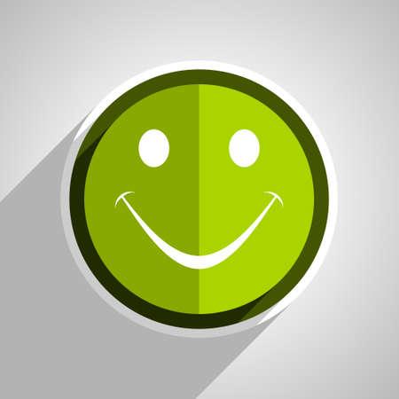 yea: smile icon, green circle flat design internet button, web and mobile app illustration